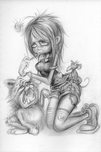 Craig-Everett-Girl-Cat-Mouse-Original-Sketch