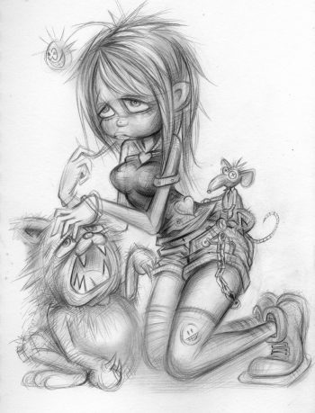 Craig-Everett-Girl-Cat-Mouse-Original-Sketch