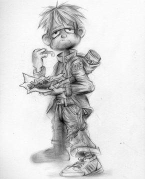Craig-Everett-Fish-and-Chips-Original-Sketch